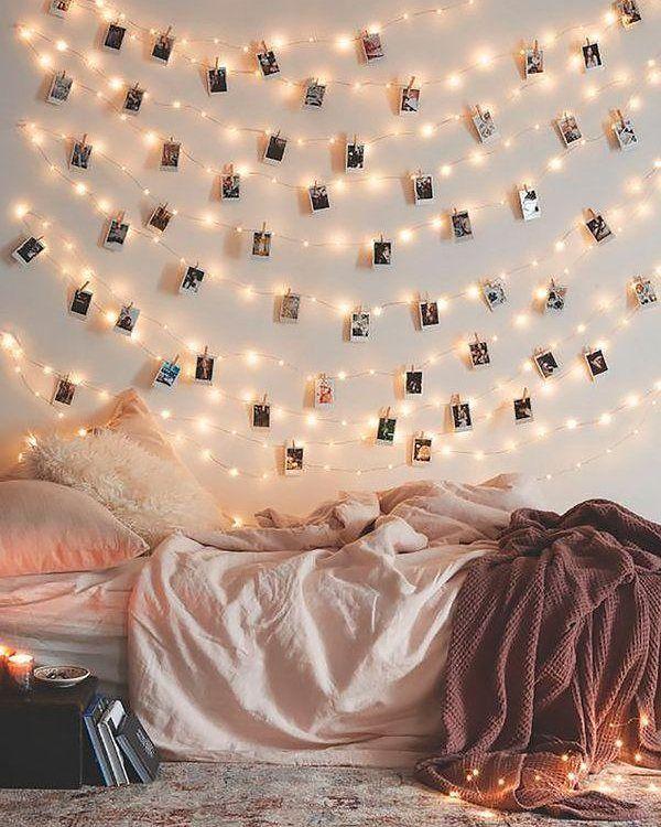 Genial Idea Para Decorar Tu Cuarto Con Estas Luces Led De Alambre Decoi Decoraciones De Cuartos Decoracion De Unas Decoraciones De Interiores Dormitorios