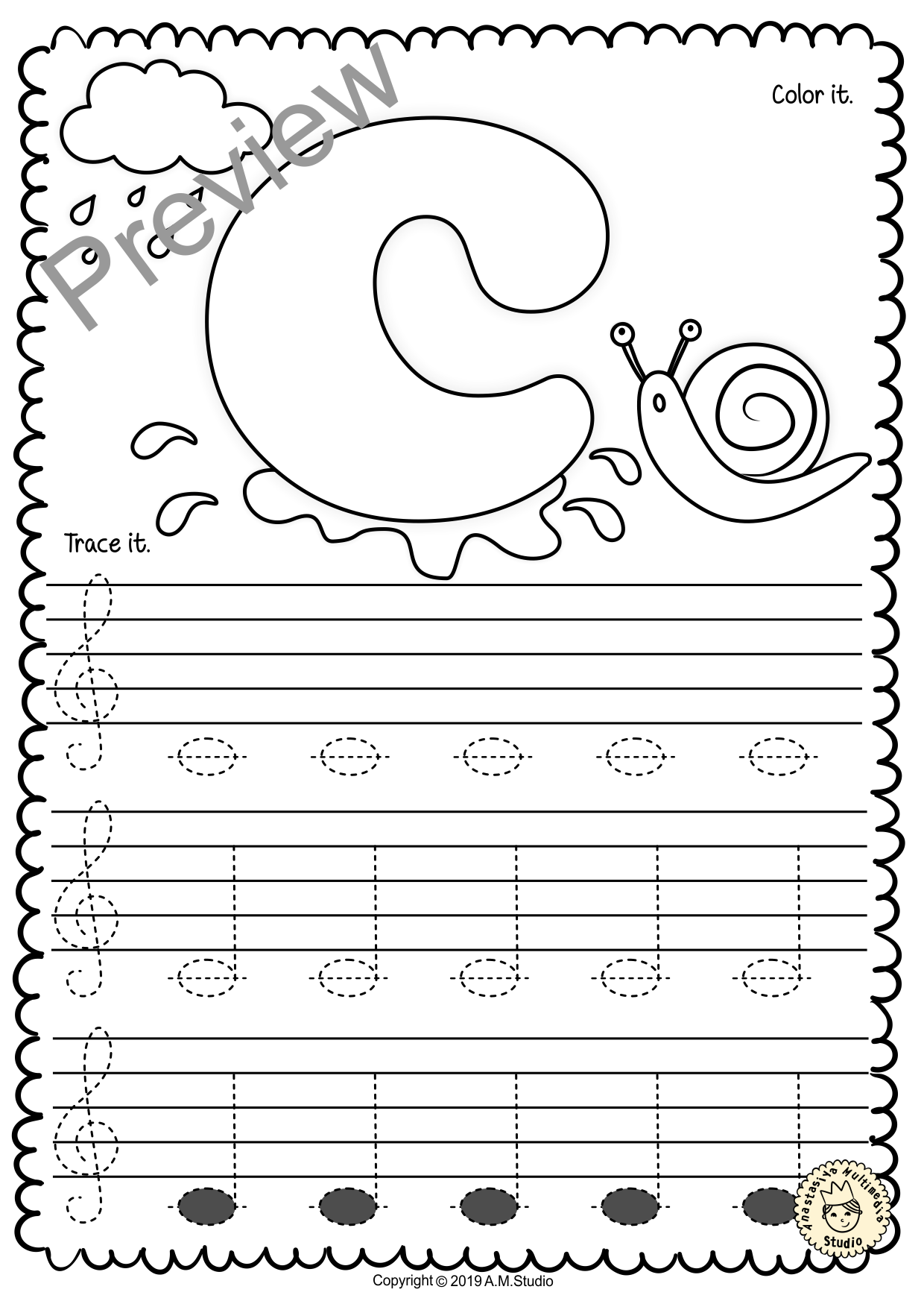 Treble Clef Tracing Music Notes Worksheets for Spring #trebleclef