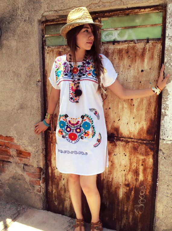 c2566c0a45 Mexican Mini Dress ethnic beautiful handmade by PureLoveMex Tienda  Mexicana