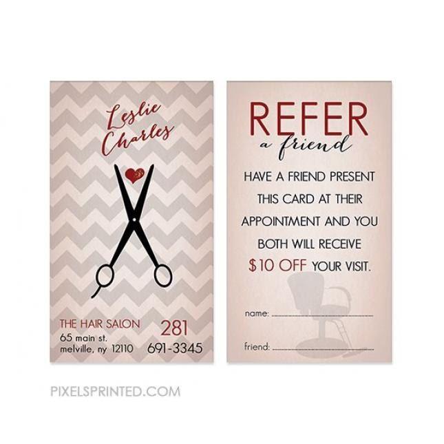 Cartes De Reference De Coiffeur Couleur Des Deux Cotes Ups Home Hair Salons Referral Cards Hair Salon
