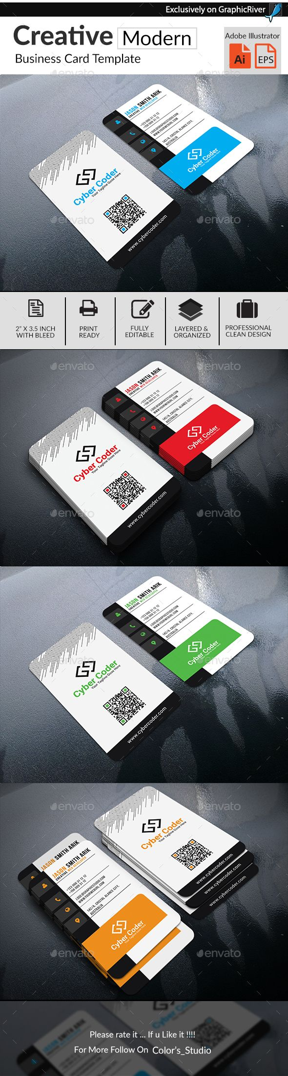Creative Modern Business Card | Ai illustrator, Business cards and ...