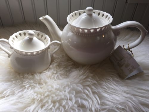 I Godinger Co White Cream Lace Pierced Trim Rim Tea Pot