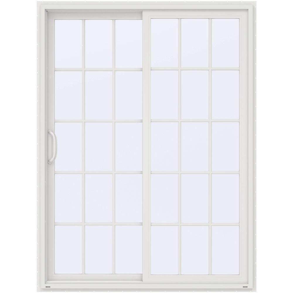 Jeld Wen 60 In X 80 In V 4500 Contemporary White Vinyl Left Hand 15 Lite Sliding Patio Door Thdjw155900208 The Home Depot Vinyl Patio Doors Patio Doors Sliding Patio Doors