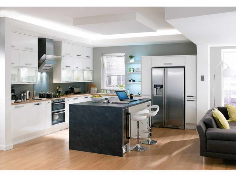 Dry White Kitchen Cabinets With Wood Floor