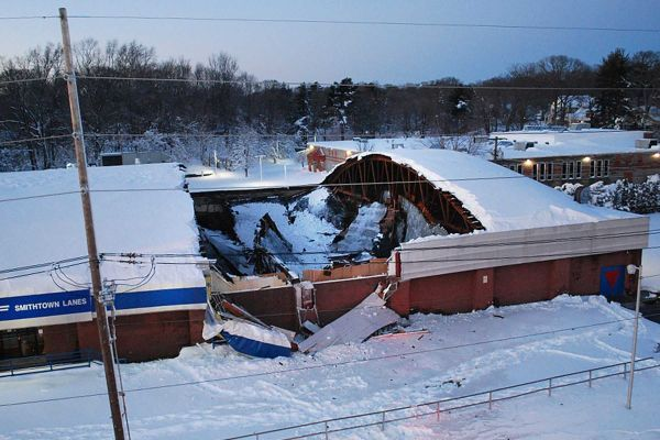 Snow Causes Bowling Alley Roof To Collapse Roof Collapse