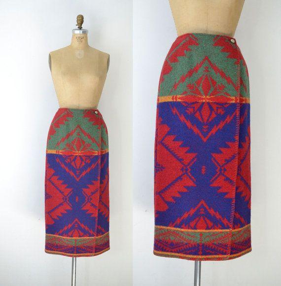 1990s Ralph Lauren Skirt / 90s Southwestern Wool by FemaleHysteria