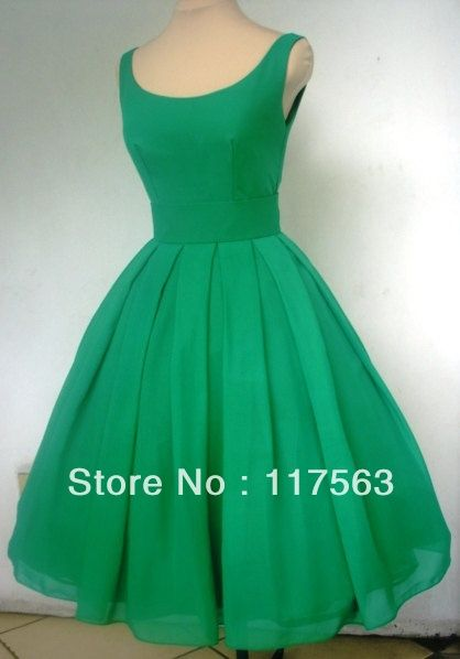 Real sample a 1950\'s style emerald green boat neck short cocktail ...
