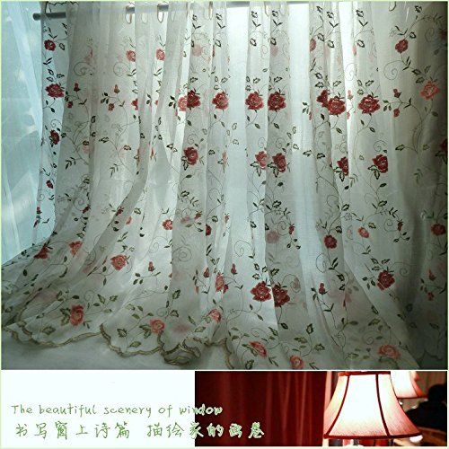 Fadfay Rose Fl Embroidered Kitchen Sheer Curtains 1 Panel Home
