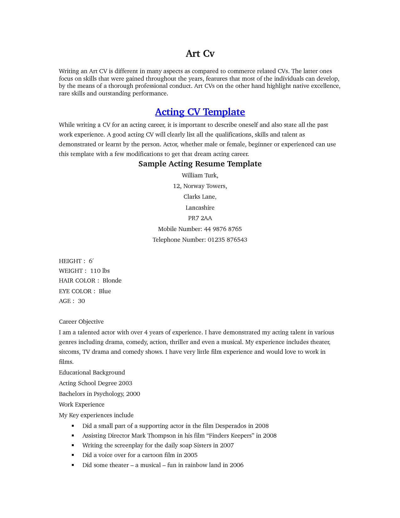 Acting Resume Sample Beginner - http://www.resumecareer.info/acting ...