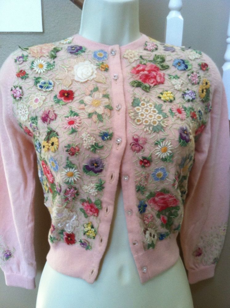 Vtg 50s Saks Fifth Avenue Pink Cashmere Embrd Cardigan Sweater XS/S Must See