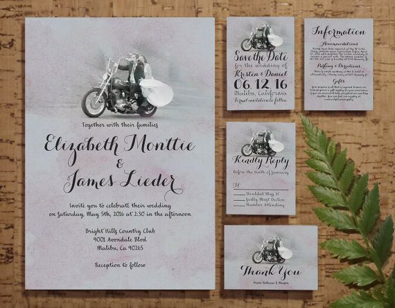 Digital Wedding Invitation Ideas: Motorcycle Wedding Invitation Set/Suite, Printed/Printable