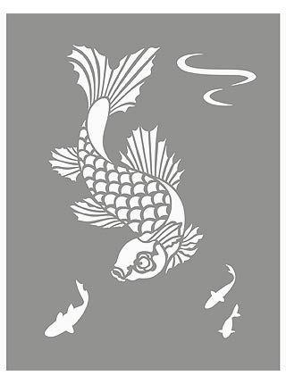 Little koi stencil 1 koi carp stencils stenciles for Koi fish stencil