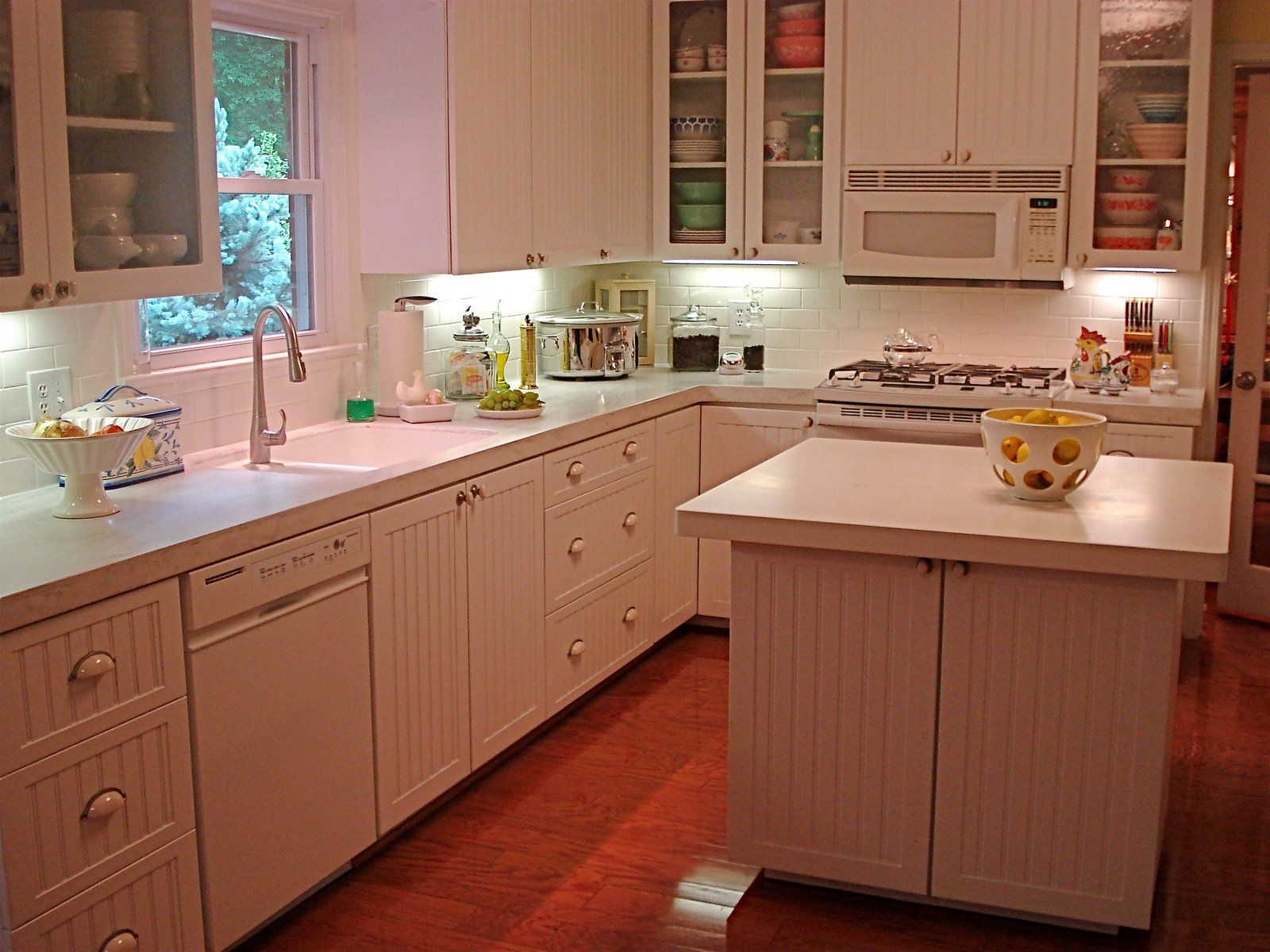 Corian Rain Cloud Countertops White Appliances Light Cabinets