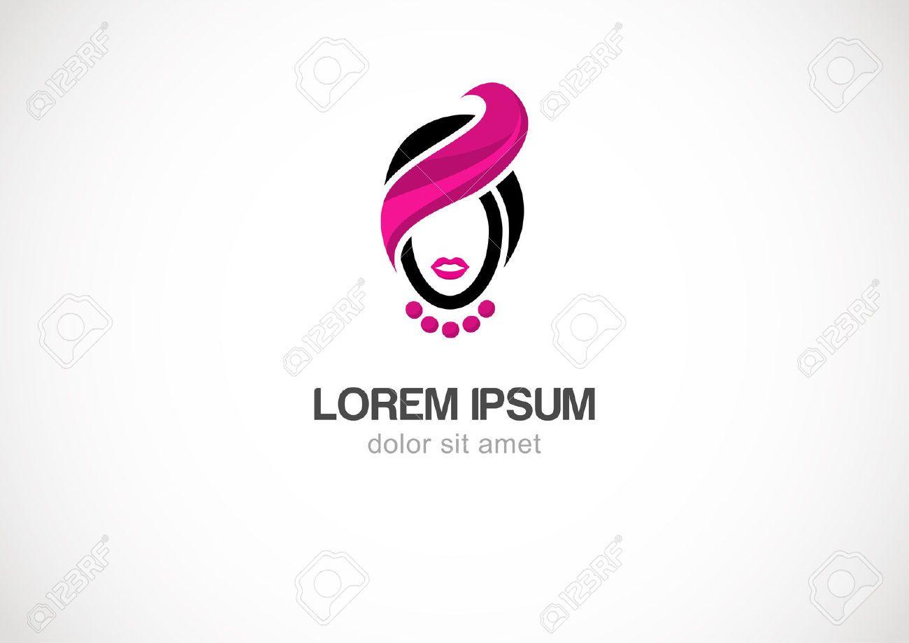 Woman Silhouette Vector Logo Design Template. Cosmetics