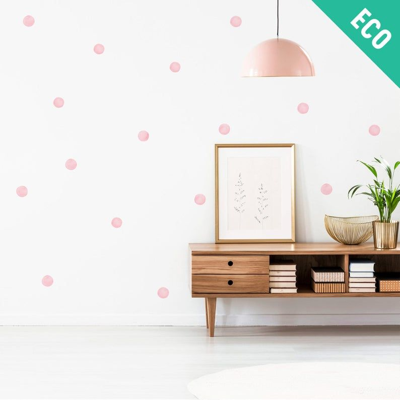 Big Pink Watercolor Polka Dots Wall Decals 6 Cm Plastic Free