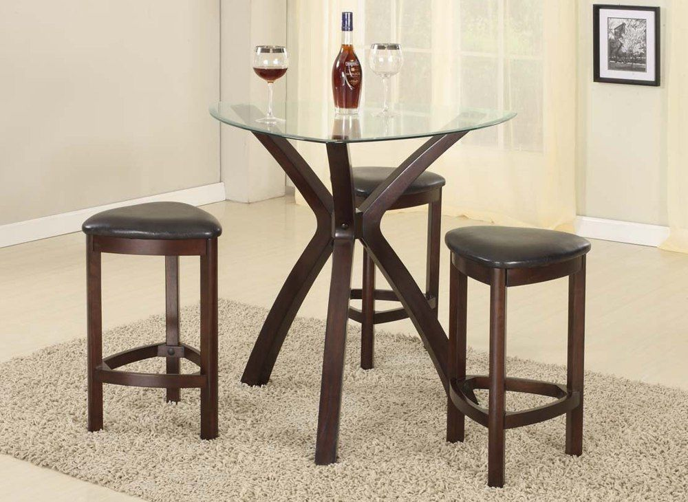 Small Round Dining Table With Triangle Bar Stools Wood chair