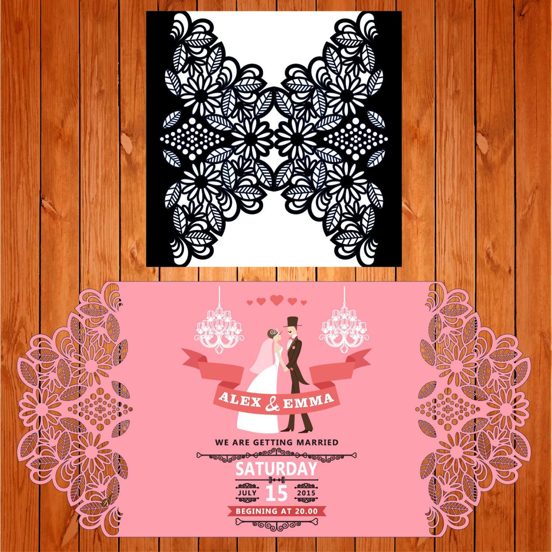 Invitación de la boda tarjeta plantilla calado, hojas, flores ...