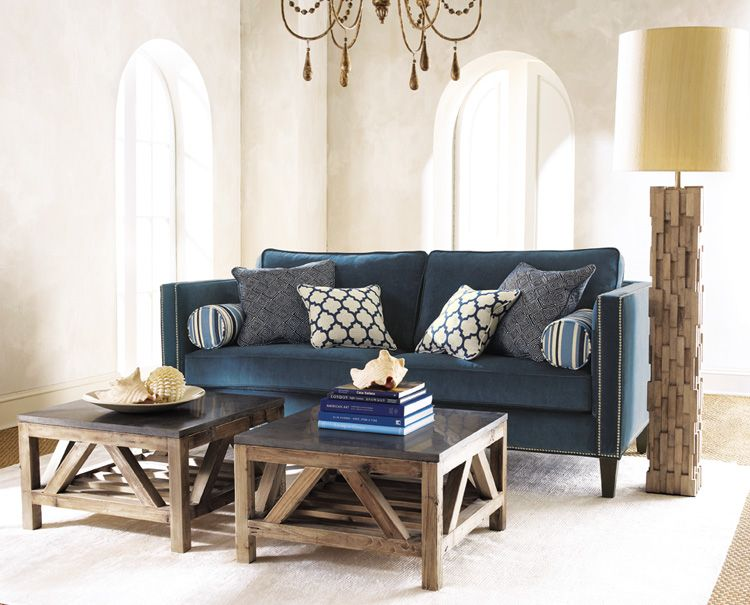 Cool Indigo Langston 39 Sofa Blue Patterned Throw Pillows