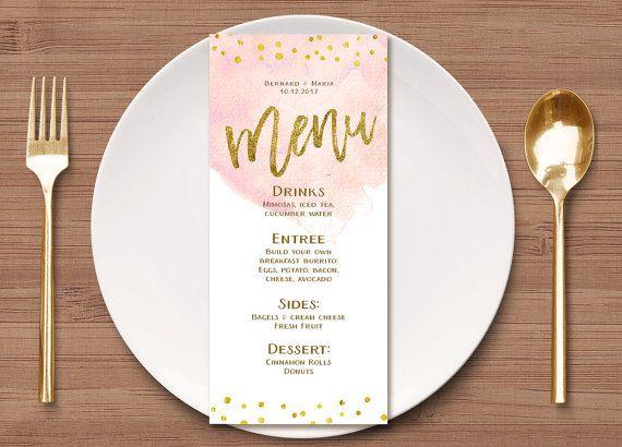 Blush pink floral wedding menu template, editable dinner menu.