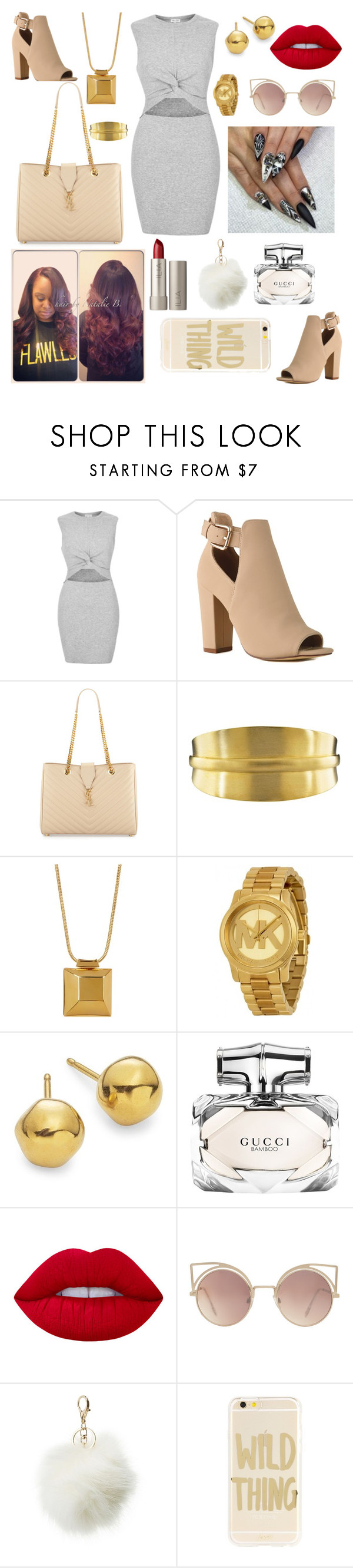 """Mall"" by designer-caldo ❤ liked on Polyvore featuring River Island, Yves Saint Laurent, Jane Diaz, Diane Von Furstenberg, Michael Kors, Uno de 50, Gucci, Lime Crime, MANGO and Charlotte Russe"
