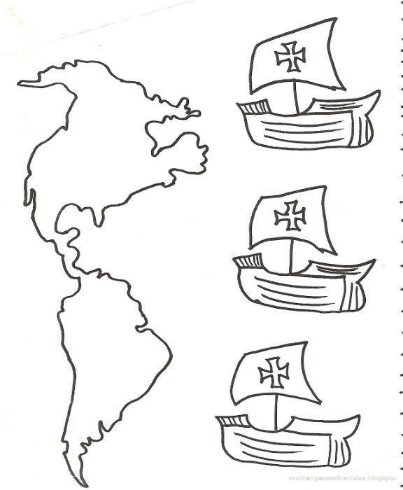 Dibujo para colorear de las Tres Carabelas de Colon  Educacin