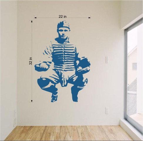 Baseball Catcher Sports Vinyl Wall Art Sticker Decal Graphic - Vinyl vinyl wall decals baseball