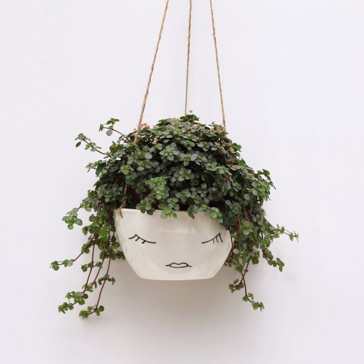White Ceramic Hanging Planter Face Plant Pot By
