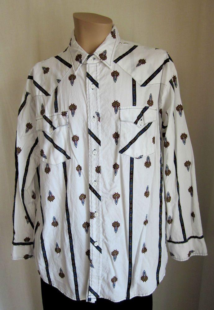 BLAIR Men's Aztec Pattern Western L/S Button Front Shirt 2XL 2XLarge Cotton #Blair #ButtonFront