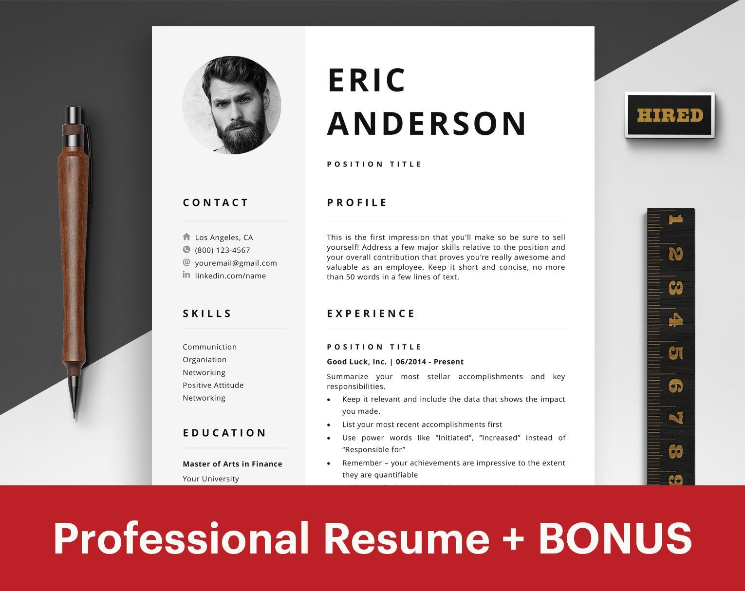 Resume Template with Photo CV Template with Photo CV