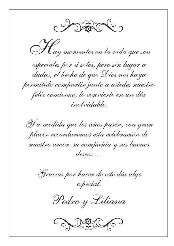 Nota De Agradecimiento Boda Texto Invitaciones De Boda