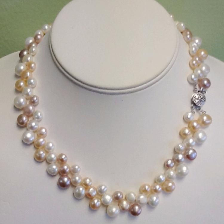 2 ROW 7-8MM Freshwater cultured pearls shell flower necklace