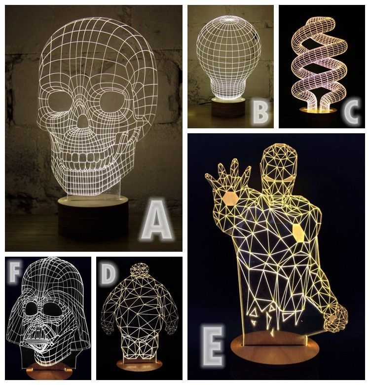 Your Choice 3D Illusion LED Bulbing Table Lamp Night Light Wood Mood