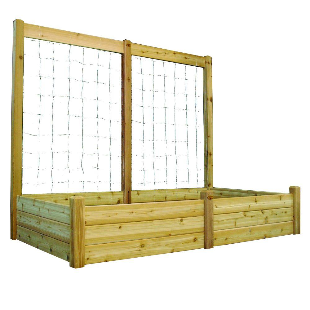 Gronomics 48 In X 95 In X 19 In Raised Garden Bed With 95 In W X 80 In H Trellis Kit Rgbt Tk 48 95 Garden Beds Raised Garden Beds Cedar Raised Garden Beds
