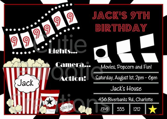 Movie Birthday Invitations Night Party Invitation Printable