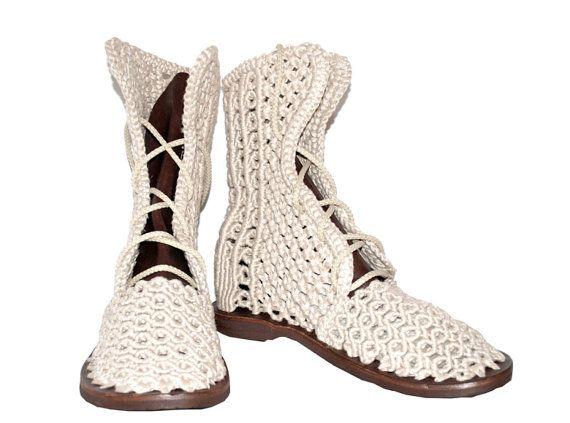 5277f6a3b7 Handmade Crochet Linen Boots Macrame Shoes Summer by Cynamonn ...