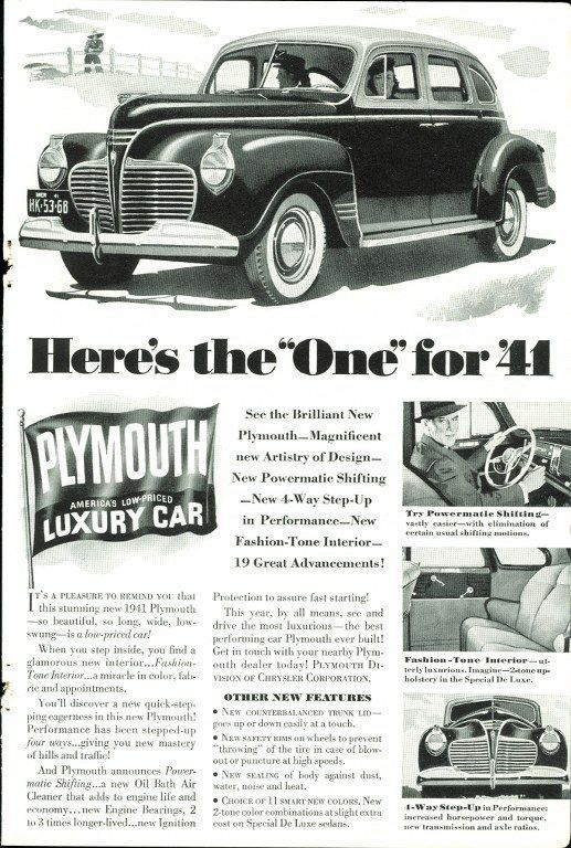 1940 Original Plymouth Prudential Ads