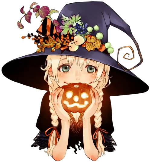 Anime Characters For Halloween : Halloween anime girl cute witch pumpkin