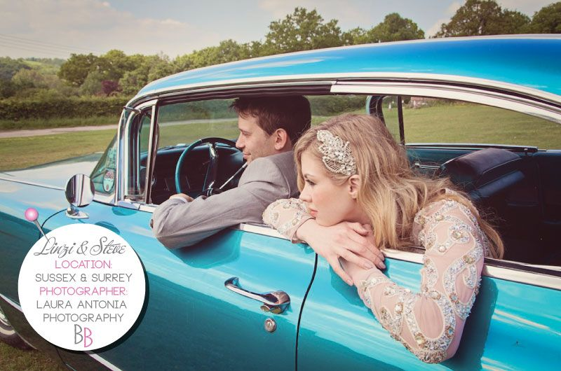 A Vintage Journey To Happiness on Bride Bubble real weddings. Blue Cadillac, vintage Alice Temperley wedding dress.