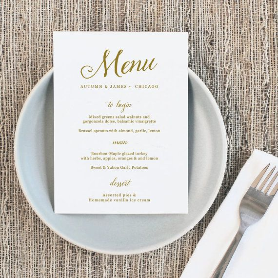 Printable Wedding Menu Wedding Menu Template Romantic  The Wedding