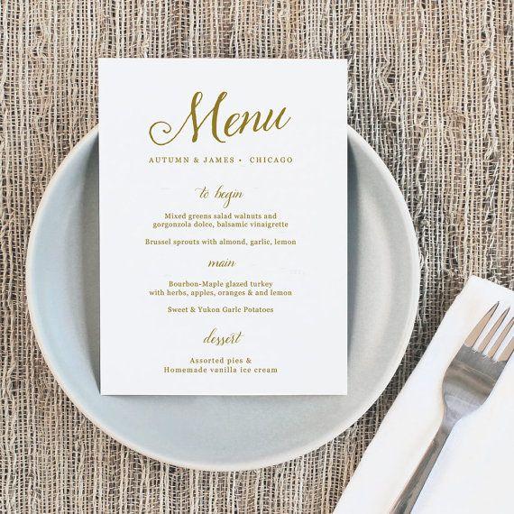 Printable Wedding Menu Wedding Menu Template Romantic  The Wedding