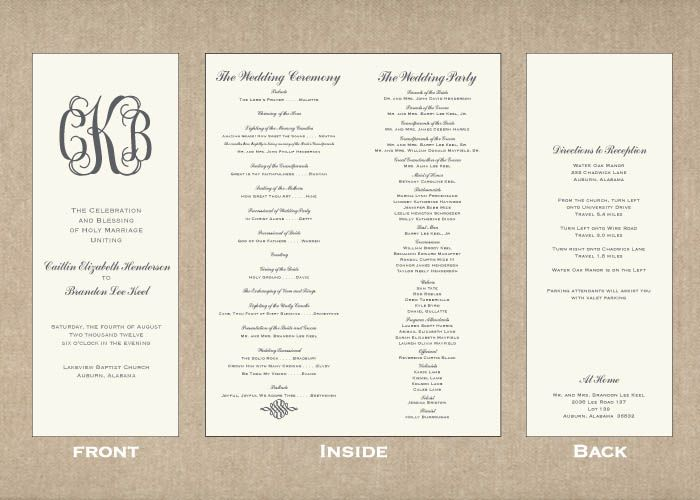 Creative Wedding Programs 21st - Bridal World - Wedding Lists and - wedding program inclusions