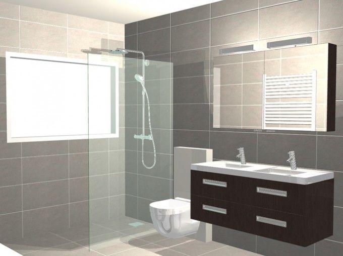 Functionele badkamer met inloopdouche | 3D-ontwerpen badkamers ...