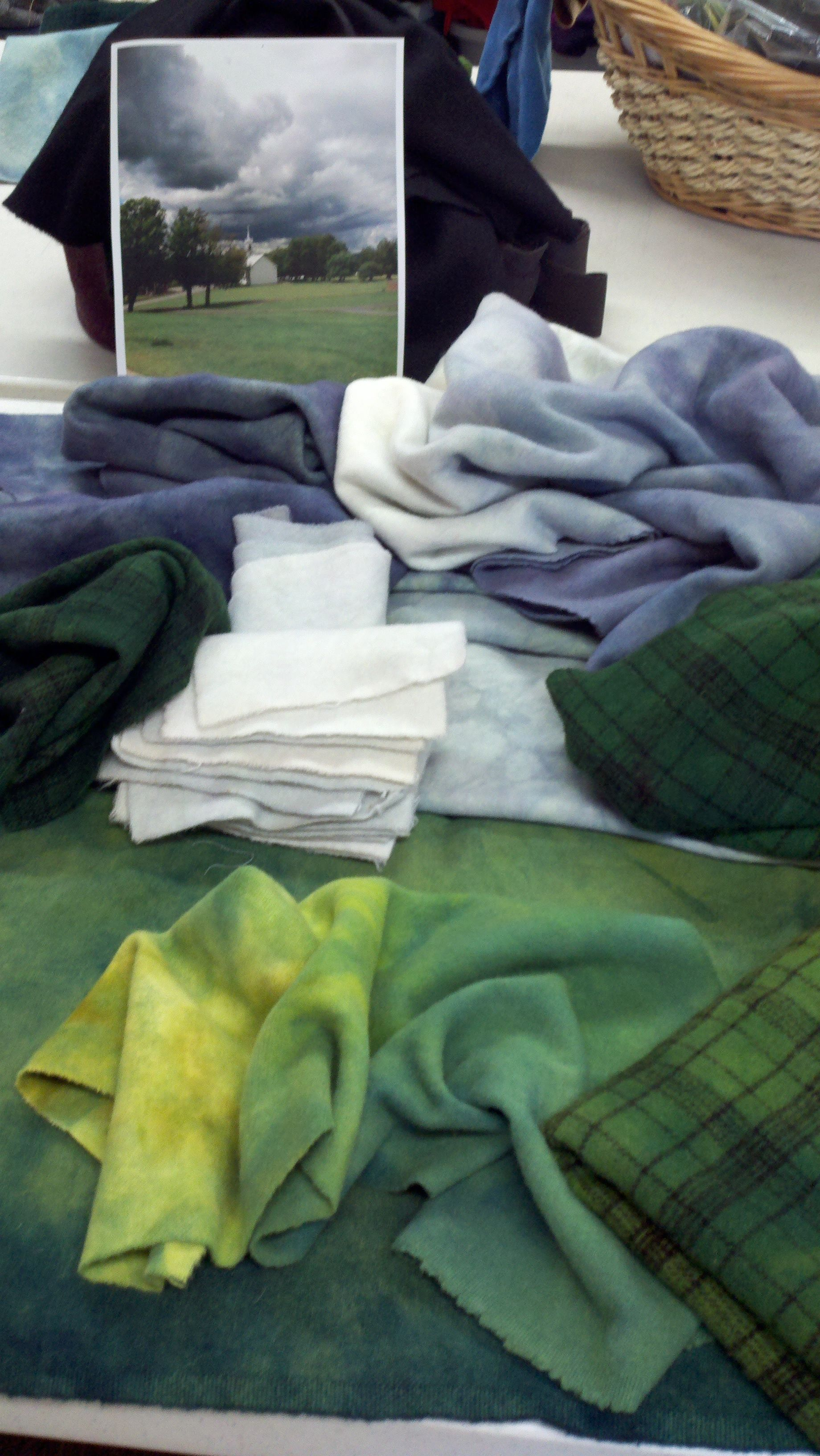 Fun in the dye pot. Green Mountain Hooked Rugs custom dyes for an original VT landscape 2012