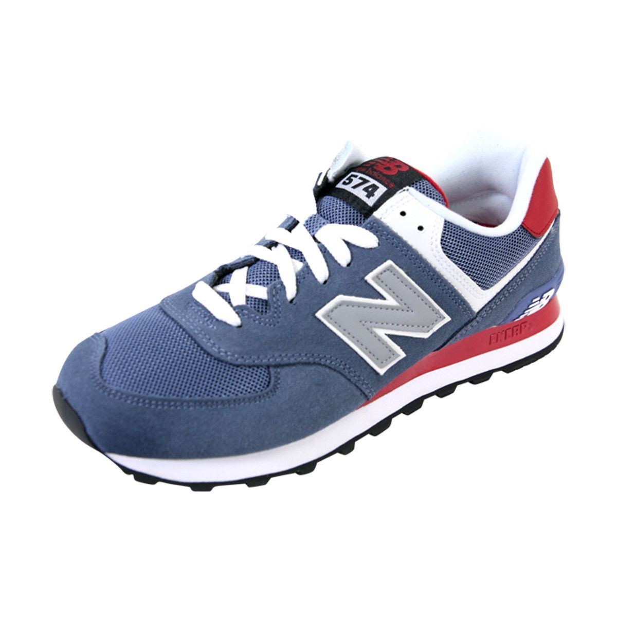 New Balance - Men's 574 Core Plus Classic Running Shoes - Crater Blue/Red