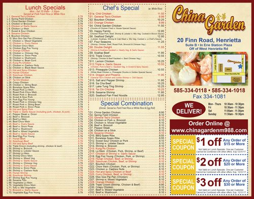 Enjoy Coupons From China Garden In Henrietta China Garden Order Chinese Food Lunch Specials