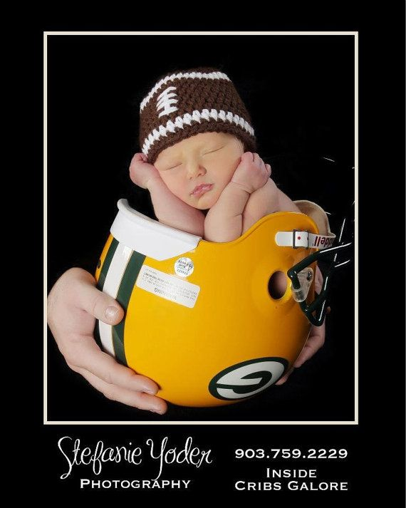 JAKE would die!!! :)  Baby Boy Football Beanie Hat Newborn  / 13 by MeToYouCrochet. , via Etsy.
