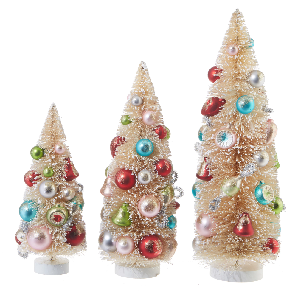 Decorated Bottle Brush Trees, Natural Sisal Trees with Ornaments -