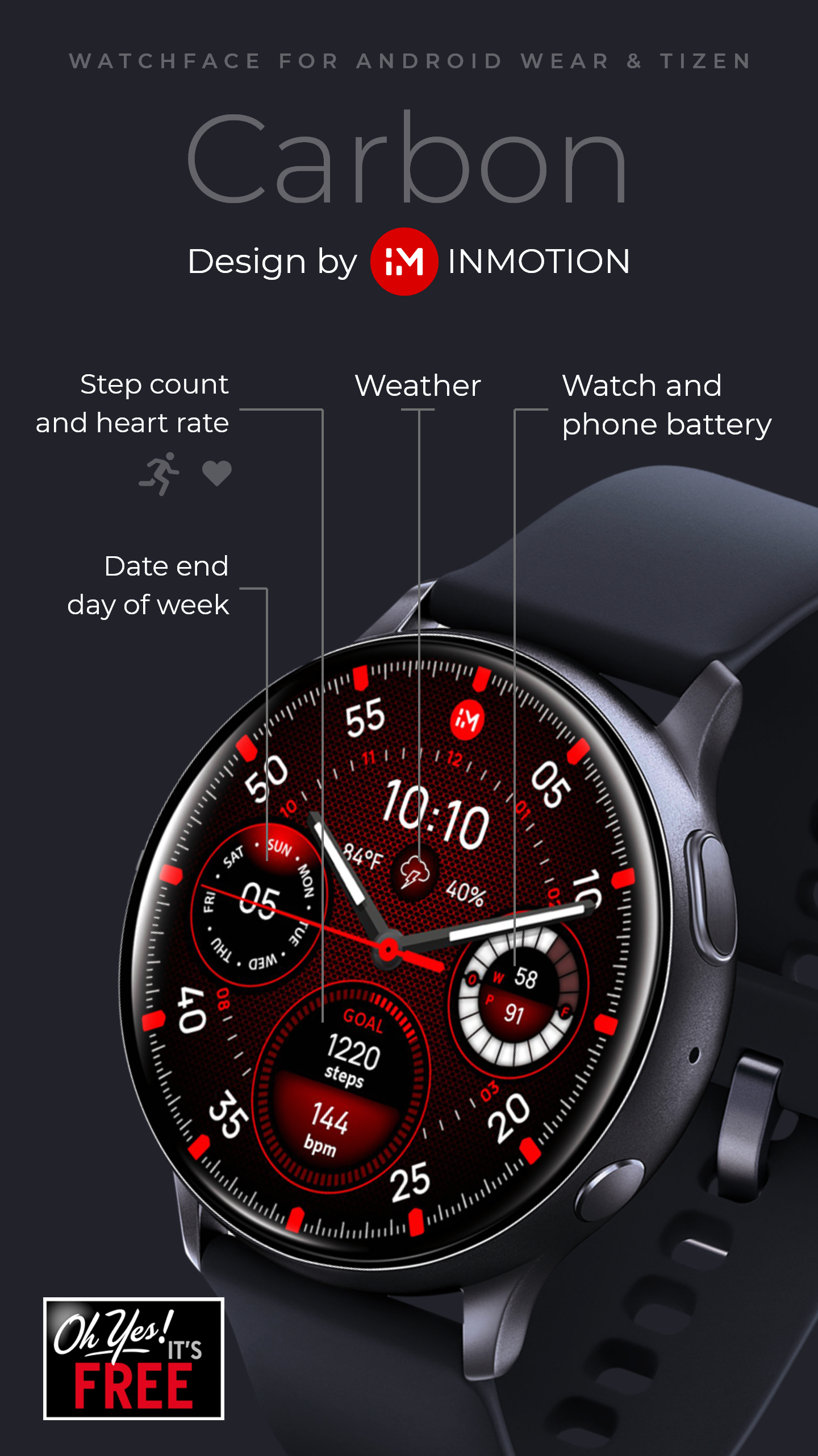 Inmotion Carbon Free Facer The World S Largest Watch Face Platform In 2020 Samsung Watches Beautiful Mens Watches Watch Faces