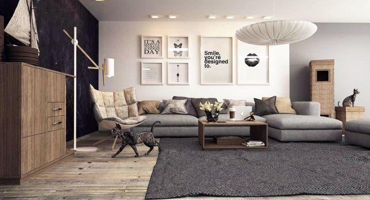 wohnzimmer in grau eckcouch ideen, wohnzimmer in grau mit eckcouch im mittelpunkt – 55 ideen #eckcouch, Design ideen