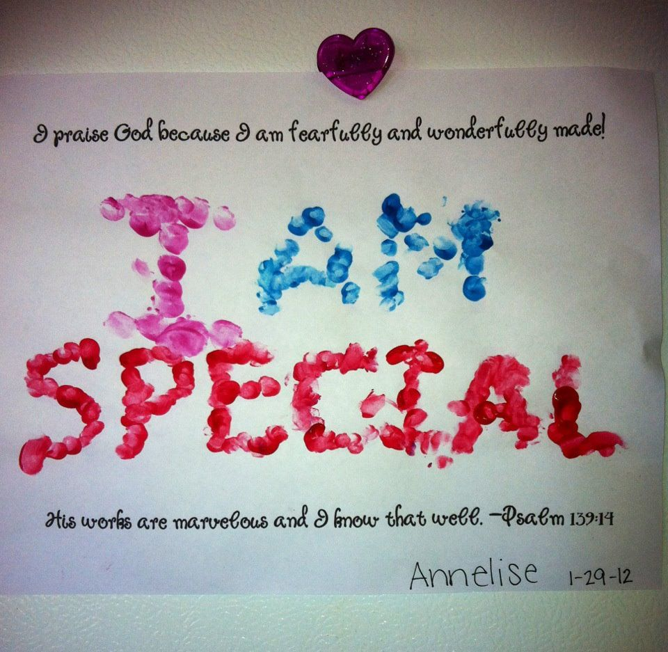 I Am Special Fingerprint Painting With Psalm 139 14 Bible
